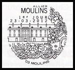 Oblitération 1er jour à Paris au Carré d'Encre et à Moulins le 23 et 24 mars 2012