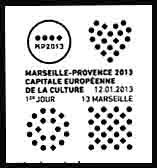 Oblitération 1er jour samedi 12 et dimanche 13 janvier 2013