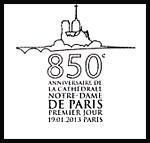 Oblitération 1er jour à Paris au Carré d'Encre et à la cathédrale Notre-Dame de Paris le samedi 19 janvier 2013.'