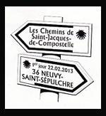 Oblitération 1er jour à Paris au Carré d'Encre, Conques, Neuvry-Saint-Sépulchre, Aubray, Saint-Gilles le 22 et 23 février 2013