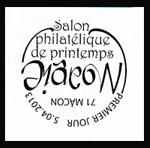 Oblitération 1er jour à Paris au Carré d'Encre et à Macon le 5 et 6 avril 2013