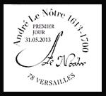 Oblitération 1er jour à Paris au Carré d'Encre, Versailles, Chantilly, Sceaux le 31 mai et 1 juin 2013