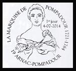 Oblitération 1er jour à Paris au Carré d'Encre et à Arnac-Pompadour le 4 et 5 juillet 2014