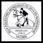 Oblitération 1er jour à Paris au Carré d'Encre et à Caen le samedi 23 aout 2014