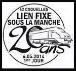 Oblitération 1er jour à Paris au Carré d'Encre et à Coquelles (Pas-de-Calais) le 6 mai 2014