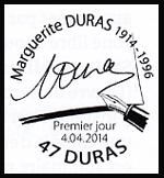 Oblitération 1er jour à Paris au Carré d'Encre et Duras (Lot et Garonne) le 4 et 5 avril 2014