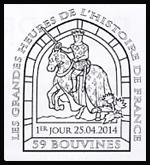 Oblitération 1er jour à Paris au Carré d'Encre et à Poissy, Bouvines, Milly-le Forêt le 25 et 26 avril 2014