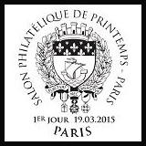 Oblitération illustrée 1er jour à Paris au Carré d'Encre, au Havre et au Salon Philatélique de Printemps le Jeudi 19 mars 2015