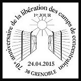 Oblitération illustrée 1er jour à Paris au Carré d'Encre et à Grenoble (38) le 24 et 25 avril 2015
