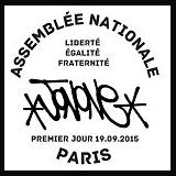 Oblitération illustrée 1er jour à Paris au Carré d'Encre et au Palais de l'Assemblée nationale le Samedi 19 septembre 2015