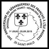 Oblitération illustrée 1er jour à Paris au Carré d'Encre et à Saint-Malo (35) le 25 et 26 septembre 2015