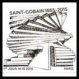 Oblitération illustrée 1er jour à Paris au Carré d'Encre et au pavillon institutionnel de Saint Gobain le Mercredi 14 octobre 2015
