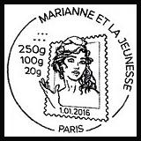 Oblitération 1er jour à Paris le 1 janvier 2016