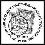 Oblitération 1 jour à Paris au Carré d'Encre le 3, 4, et 5 novembre 2016 et à l'espace Champerret du 3 au 6 novembre 2016