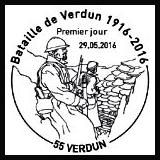 Oblitération 1er jour à Paris au Carré d'Encre le lundi 30 mai et Verdun le dimanche 29 mai 2016