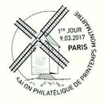 Oblitération 1er jour à Paris au Carré d'Encre et au Salon Philatélique de Printemps le 9 mars 2017