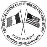 Oblitération 1er jour à Paris au Carré d'Encre, Boulogne-sur-Mer, Saint-Nazaire et Boulazac les 23 et 24 juin 2017