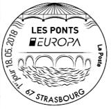 Oblitération 1er jour à Paris au carré d'Encre et à Strasbourg le 18 mai 2018