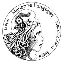 Oblitération 1er jour à Paris au carré d'Encre le 20 juillet 2018