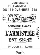 Oblitération 1er jour à Paris au carré d'Encre et à l'Espace Champerret hall A le 11 novembre 2018