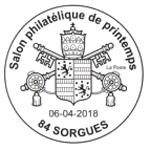 Oblitération 1er jour à Paris au carré d'Encre et à Sorgues (Vaucluse) du 6 au 8 avril 2018