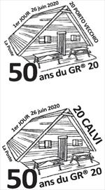 Oblitération 1er jour à Paris au carré d'Encre, au Bureau de Poste, boulevard Wilson à Calvi et à Porto Vecchio 4 Chemins, Les 4 Portes Route de Bastia le 26 et 27 juin 2021