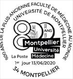 Oblitération 1er jour à Paris au carré d'Encre et à Montpellier Place des Martyrs de la Résistance le 13 juin 2020