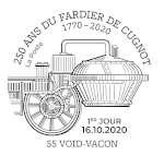 Oblitération 1er jour à Paris au carré d'Encre et à Void-Vacon (55), salle municipale Cugnot, de 10H à 17H, 22 Rue Notre Dame le 16 et 17 octobre 2020