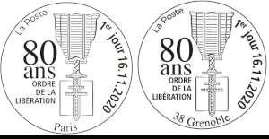 Oblitération 1er jour à Paris au carré d'Encre 3 bis rue des Mathurins, 75009 PARIS et à Grenoble Hotel de Ville 11 Boulevard Jean Painle le 16 novembre 2020