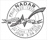 Oblitération 1er jour à Paris au carré d'Encre le 3 et 4 avril 2020