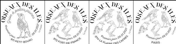 Oblitération 1er jour à Paris au carré d'Encre 3 bis rue des Mathurins, 75009 PARIS le 8 et 9 janvier 2021 et à FORT-DE-FRANCE (97209), LA PLAINE DES CAFRES (97418),  PETIT-BOURG (97170)