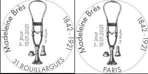 Oblitération 1er jour à Paris au carré d'Encre 3 bis rue des Mathurins, 75009 PARIS le 15 et 16 janvier 2021 et 5 rue de la République, 30230 BOUILLARGUES