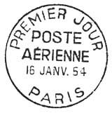 Oblitération 1er jour à Paris le 16 janvier 1954