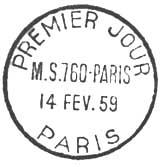 Oblitération 1er jour à Paris le 14 février 1959