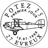 Oblitération 1er jour à Evreux le Lundi 13 juillet 1998