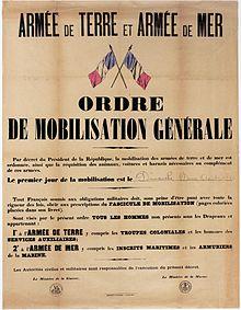 Centenaire de la première guerre mondiale. Mobilisation générale
